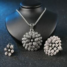 New Fashion Silver Color Crystal Flower Necklace Ring Earring Bridal Jewelry Set
