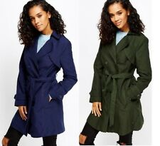 NEW LADIES WOMENS BELTED DOUBLE BREASTED TRENCH MAC JACKET COAT SIZES  8 , 10