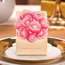 1-100X Champagn Gold Flowers Wedding Favours Boxes Party Sweets Candy Gift Bags