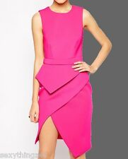 SEXY PINK ASYMMETRICAL PEPLUM DRESS-Formal & Cocktail-Choose size 10-12
