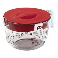 Pyrex Measuring Glass Cup With Lid Microwavable Cook Safe 8-Cup Glass Measuring