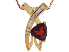 10k or 14k Yellow Gold Real Garnet White Topaz Accented Ladies Unique Pendant