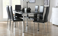 Space & Leon Extending Glass & Chrome Dining Room Table & 4 6 Chairs Set - Black
