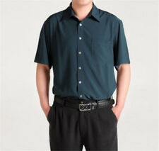 Mens Satin Silk Shirt Blouse Top Short Sleeve Casual Fit Smooth Soft Shirt L-3XL