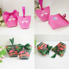 1-100X Pink / Green Flamingo Wedding Favours Boxes Party Sweets Candy Gift Bags