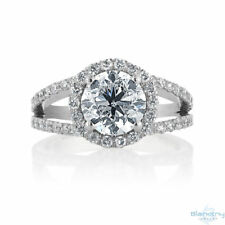 Diamond Engagement Ring Size 6.5 Certified 2.69 CT F Si1 14K White Gold Enhanced