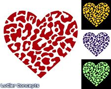 Leopard Cheetah Spot Heart Vinyl Love Decal Sticker - Choose Your Size and Color