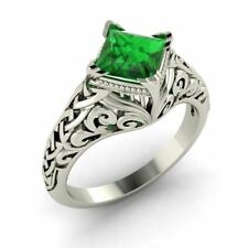 Princess-Cut Natural 0.98 Ctw Emerald Vintage Solitaire Ring 14k Gold Certified