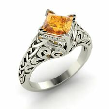 Princess-Cut Natural 0.85 Ctw Citrine Vintage Solitaire Ring 14k Gold Certified