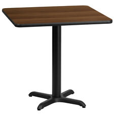 30'' Square Walnut Laminate Table Top with 22'' x 22'' Table Height Base