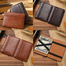 Mens Leather Magic Wallet Slim Business Money Clip ID Credit Card Holder Fast US
