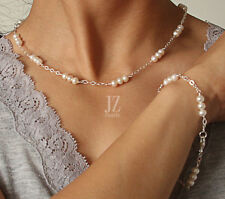 Freshwater Pearl Necklace Bracelet linked with Sterling Silver Chain &Earrings