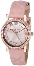 New Michael Kors Womens Watch Quartz Stainless Steel Leather Ladies Casual Watch