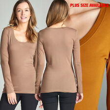 Juniors Basic Long Sleeve Round Neck Active Slim Layering Solid Tee Shirt Top