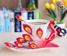 Enamel Coffee Mug Porcelain Tea Cup Milk Set With Spoon and Dishes Creative Cups