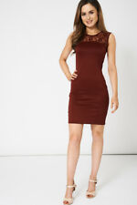 Ladies Sleeveless Dress In Burgundy With Lace Details - Womens Smart work Dress