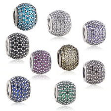 Multi-colors Pave CZ Lights Charms Authentic 925 Sterling Silver Ball 7 colors