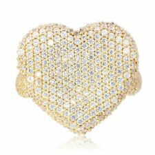 2.80Ct Created White Diamond Heart 14k Solid Yellow Gold Ring Size 5-10