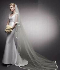 New Wedding Veils 2 Layer Satin Edge Bridal Bride Veil White Ivory With Comb SJ