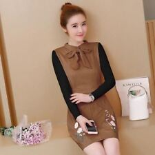 Women Patchwork Bow Tie Long Sleeve A Line Above Knee Length Dress X374
