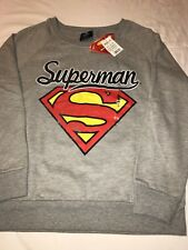 New Women's Superman Thin Sweatshirt Gray with Logo
