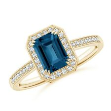 1.3ct Emerald Cut London Blue Topaz Diamond Halo Engagement Ring