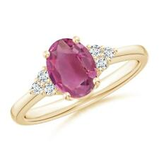 Solitaire Oval Pink Tourmaline Trio Diamond Ring 14K Yellow Gold