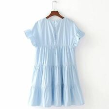 Casual Wear Ruffle Pearls Beading Decorated O-neck Short Sleeve Dress for Women