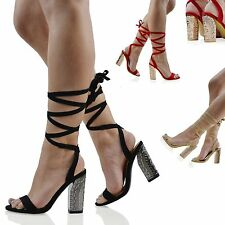 Womens Lace Up Block Mid Heel Ankle Tie Wrap Ladies Strappy Sandal Shoes Size