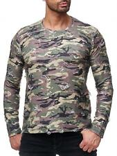 Redbridge Men's Long Sleeve Sweat Muscle Shirt Destroyed Camouflage Army