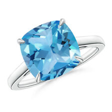 Vintage Inspired Cushion Cut Swiss Blue Topaz Cocktail Ring 14k White Gold