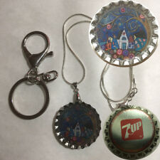 Old 7Up 7 up Soda bottle cap Church in town Folk Art Keychain Pendant necklace