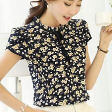 Floral Printed Chiffon Ruffled Short Sleeve Plus Size Blouse Top for Women