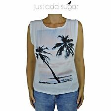 Just Add Sugar Palm Cove Tank Top Sleeveless Sexy Beach Summer White Open Back