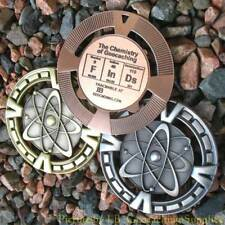 """FInDs - Chemistry of Geocaching Geomedal Geocoin (2.5"""", Cutouts, Antique Finish)"""