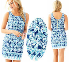 $188 Lilly Pulitzer Cathy Bomber Blue Get Trunky Engineered Elephant Dress 8