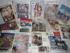 Vintage Craft Sewing Patterns, Stuffed Dolls & Clothes, Furniture- Uncut, U-Pick