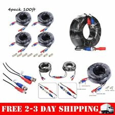 4 Pack 100ft Security Camera Cable CCTV Video Power Wire BNC RCA Black Cord DVR