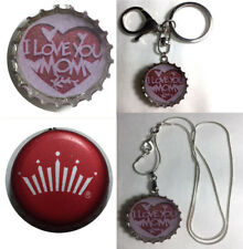 Budweiser BUD Beer bottle Cap I Love You Mom Keychain Pendant silver necklace