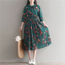 Women Green Color Floral Printed Chiffon 3/4 Sleeve Mid-calf Pleated Dress
