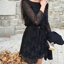 ZARA Black Mesh Lace Bead Embroidered Mini Dress Open back V-neck Sold Out new S