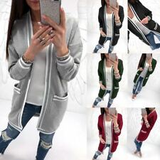 Womens Jacket Cardigans Striped Casual Oversized Jumper Long Sleeve Tops Outwear
