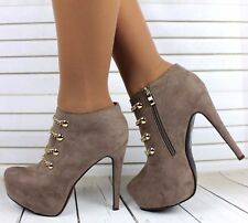 LADIES STILETTO HEEL ZIP UP FAUX SUEDE GOLD CHAIN STILETTO ANKLE BOOTS SIZE 3