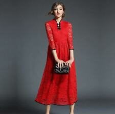 Women Three Quarter Sleeve V Neck Slim Solid Color Hollow Out Lace Dress