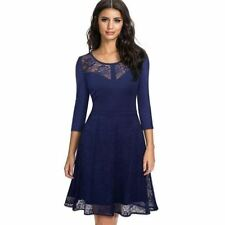 Autumn Wear Floral Pattern Lace Mesh Party Wear Swing Pinup Dress for Women