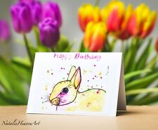 Spring Bunny Birthday Card, Rabbit Cards for Girls Personalised Handmade Yellow