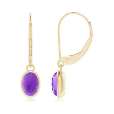Bezel Set Solitaire Oval Amethyst Dangle Earrings 14K Yellow Gold/ Silver