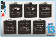 13 Personalized Engraved Flasks, Groomsman Gifts, Wedding Bridesmaid Party