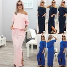AU New Women Summer Off Shoulder Casual Maxi Split Ladies Beach Party Long Dress
