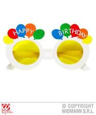 Happy Birthday Slogan Balloon Theme Yellow Adult Size White Sunglasses One Size